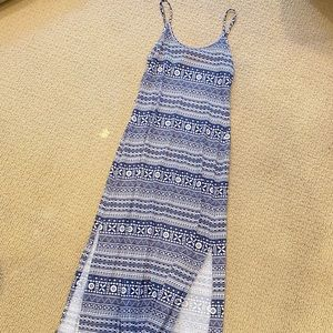 Castro blue and white maxi dress slit open leg